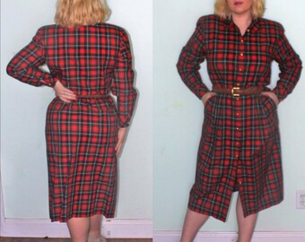 add4dac9b9f4 80s 90s Work Secretary Dress Red Blue Plaid Holiday Christmas Tartan long  Sleeves 80s does 50s Size L Large 12