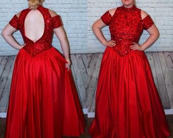 2f4bdea35c6 Vintage Dress 1980s Formal Prom Party Dress Maxi Full Length Plus Size 18  waist 33