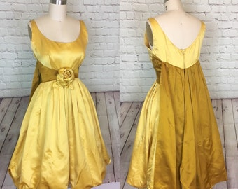 e3547d5def52 50s 1960s bubble Hem Prom Party Dress Gold yellow Drape Back Rose bust size  Small