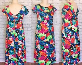 0ea770820d1a Hawaiian Dress Floral Print A-line Tiki Luau Cape Waterfall Back Short  Sleeve Muumuu Size L Large