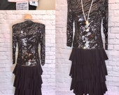80s Dresses | Casual to Party Dresses 80s Beaded Silk party Dress Black Animal Pattern Sequin Ruffle Flapper Dress Gatsby Party Sheer Sleeves Size Large W34 $65.00 AT vintagedancer.com