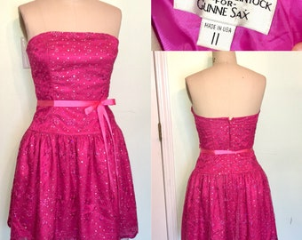 3674993e Short Prom Party Dress strapless fuchsia Sequin lace 2000s does 80s Y2K  Size 11 Medium Large
