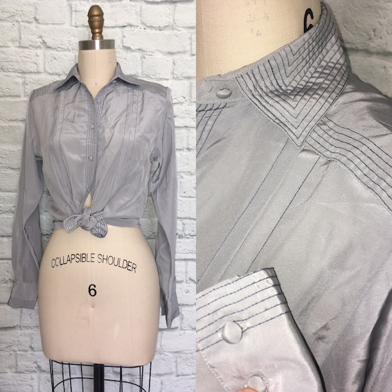 80s 90s Blouse Gray Grey Navy Top Stitched Pleate… - image 1