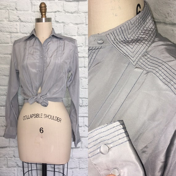 80s 90s Blouse Gray Grey Navy Top Stitched Pleated