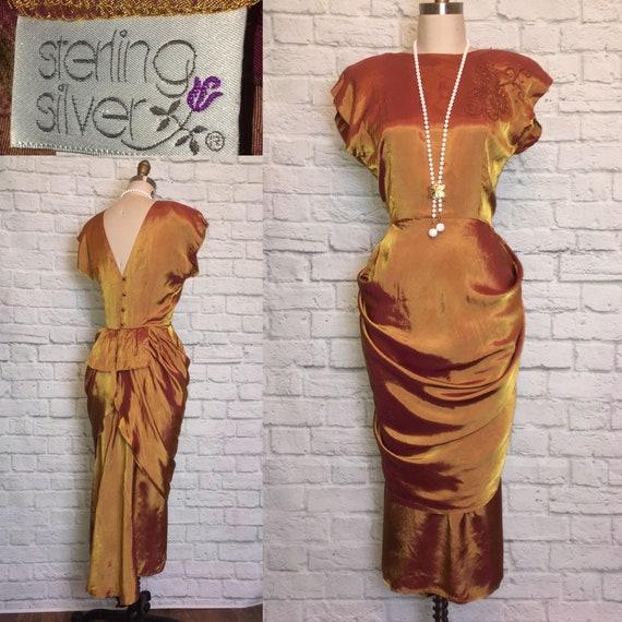 80s does 40s Dress Gold Burgundy shiny Drape Fisht