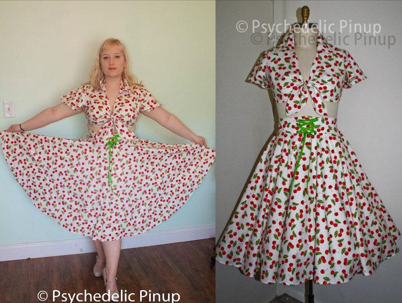 6a577fca54b Top Skirt Set Rockabilly Pinup 1950s Style Circle Skirt Crop