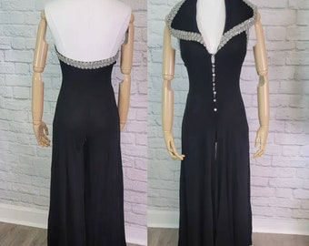 70s Jumpsuit Black Extra wide Bellbottoms Halter collared rhinestone Size Small Disco Party