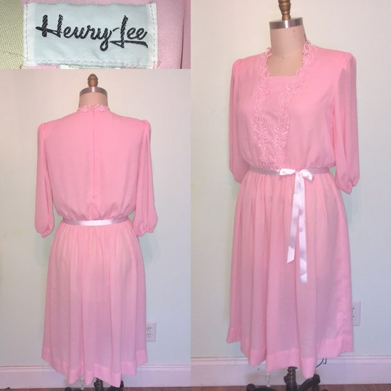 Baby Pink 80s Crepe Secretary Dress Sprin Easter Plus Size XL