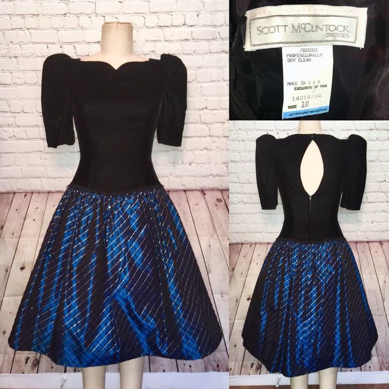 9ccee1abc128 Christmas dress Blue Black Gold Plaid Tartan Velvet Holiday | Etsy