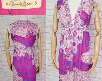 EMILIO PUCCI mini dress keyhole neck nylon pink psychedelic Print Small