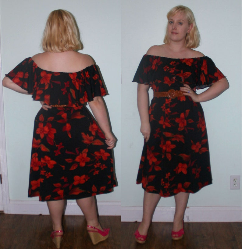 ee08d4dbe1127 1970s style Red Plus Size Disco Dress Ruffle Neck On or Off