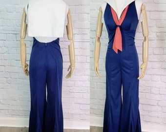 M/L 70s Jumpsuit Navy Sailor Extra wide Bellbottoms Halter collared Size Small Disco Party
