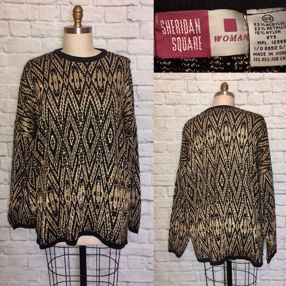 Plus size 3XL 1980s Sweater Pullover Jumper Slouch