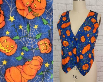XL Vintage 90s Vest Top Spooky Halloween Pumpkin Jack O Lantern  Spiderweb Night Sky Print -