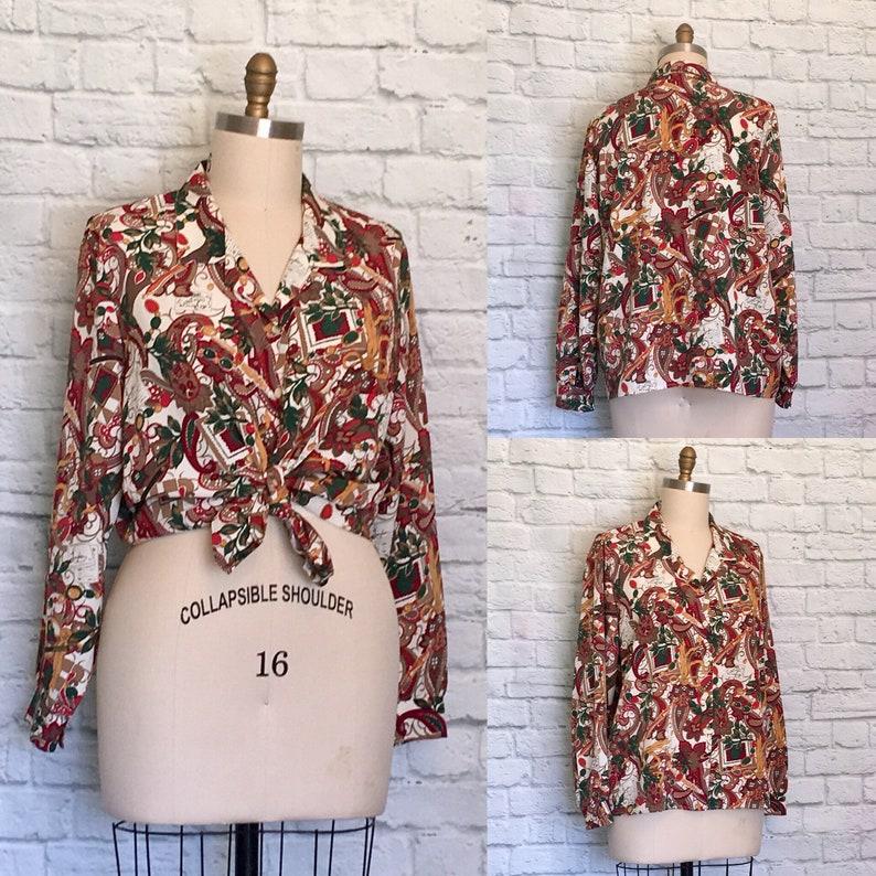 Plus Size 20 Blouse paisley Shirt london vacation oversized long sleeve