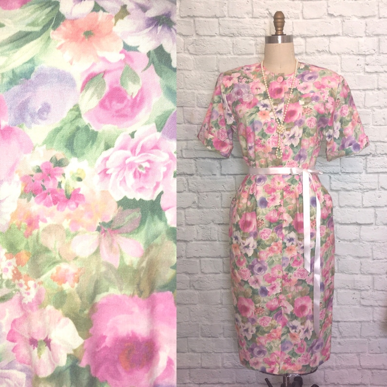 80s does 50s Dress Wiggle Floral Pockets 1950s style puff sleeves 1980s Pinup Dress Size medium