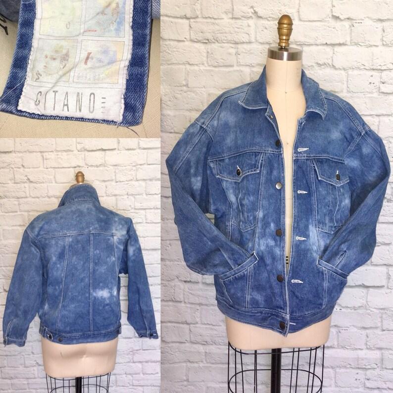 d3f47d1140880 Unisex 80s 90s acid wash Denim Jacket Billy Marbled Stranger Blue Jean  Things Jacket Oversized Baggy Fashion Pockets Size Medium