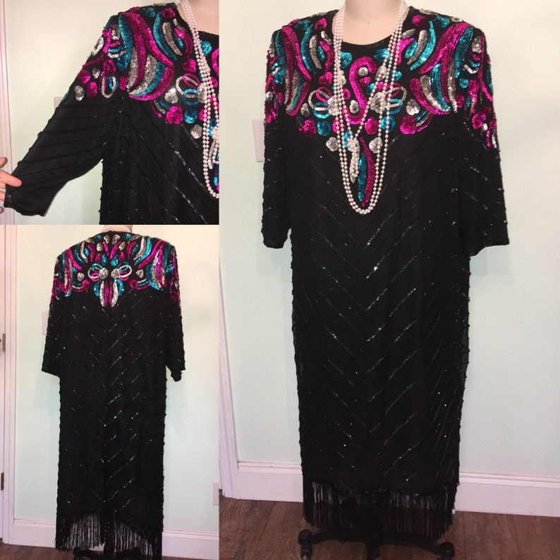 4XL Plus Size 20s Style Dress Black Teal Fuchsia Sequin Fringe | Etsy