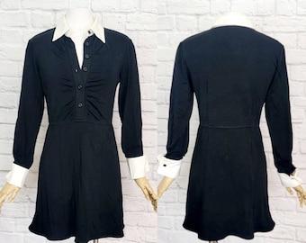 Wednesday Adams Addams Knit Dress Halloween Goth 1990s 00s Babydoll White Collar Size Large
