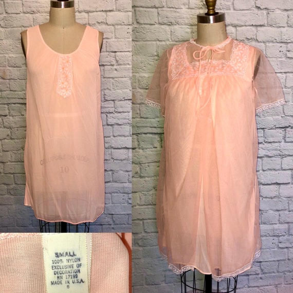 Vintage 60s Sherbet Orange Peignoir Set Mini Night