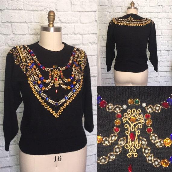 90s embellished Sweater jewel rhinestone embroider
