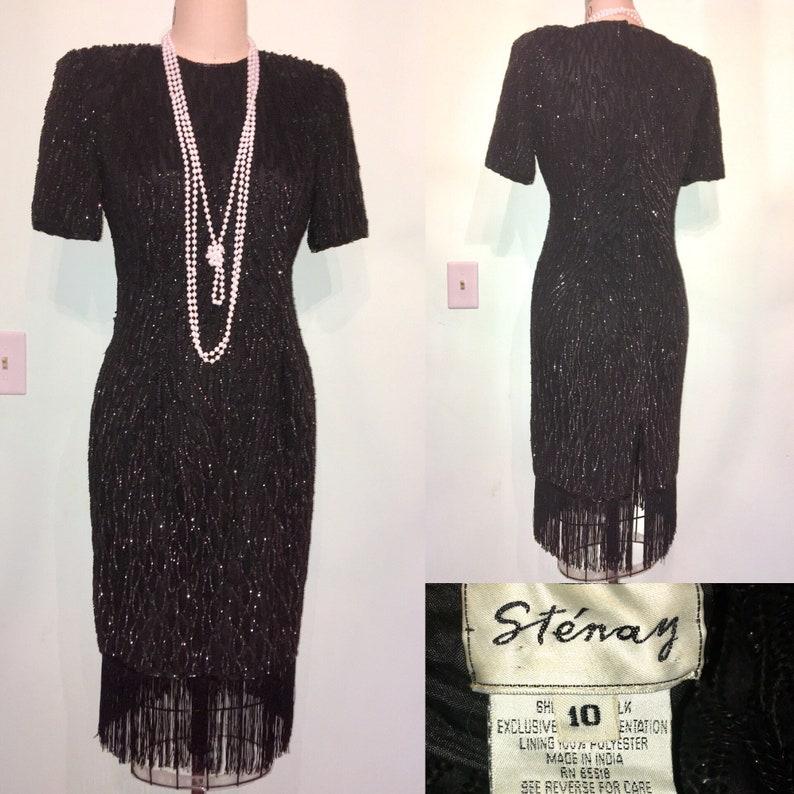 ad3845b98ff5 20s Style Dress Black Sequin Fringe STENAY Gatsby 80s does | Etsy