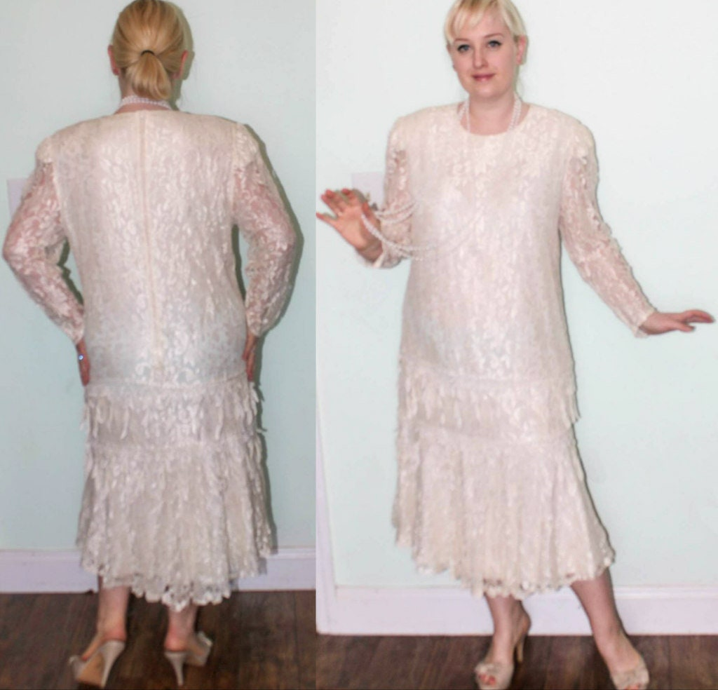 80s does 1920s dress ivory cream lace flapper Gatsby Roaring  a543388c0