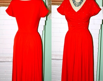Vintage Dress 70s  HOT 40s Style Red Rhinestone Dress- Ruched Bodice- Size S