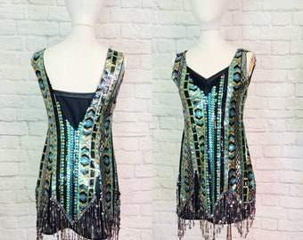 Sequin Flapper Costume 1920s Style Dress Sequin Black Gold Silver Stripe Fringe 20s Gatsby Halloween Party