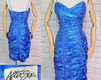 80s Prom Dress Electric blue lame Draped Wiggle spaghetti Strap Size Large