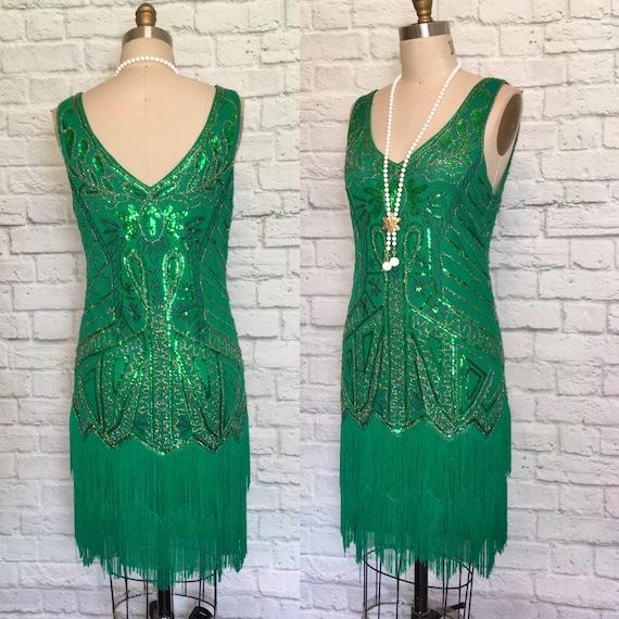 Sequin flapper Style Dress  Green Fringe Sequin V