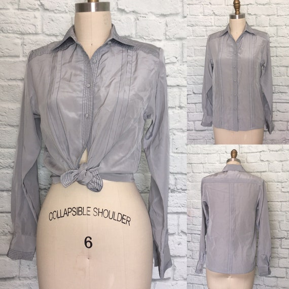 80s 90s Blouse Gray Grey Navy Top Stitched Pleate… - image 2