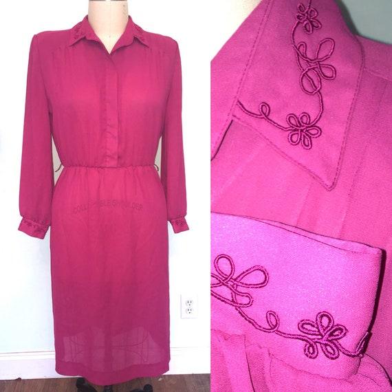 1980s crepe shirtwaist secretary dress long sleeve Fuchia 80s work dress  plus size 16