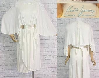 Disco Party Dress knit Drape lace Neckline 1970s Size m l Princess leia vibes