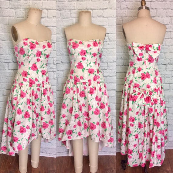 1980s Strapless Bombshell Gown Pink floral Rose Pr