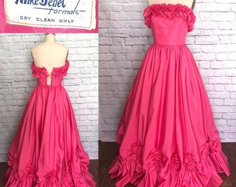 Mike Benet Ball Gown Dress 1980s does 50s Strapless bright Pink 80s Formal Prom Party Maxi Full Length XS