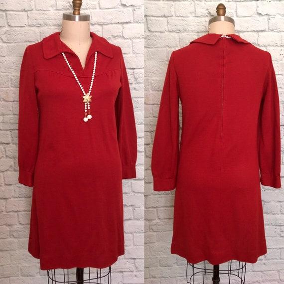 60s 70s Rust Orange Dress Mod Long Sleeve Fall shi