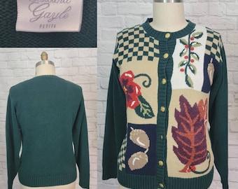 90s Autumn Theme Cardigan Green Oversized Medium Fall Sweater Top Leaf Acorn
