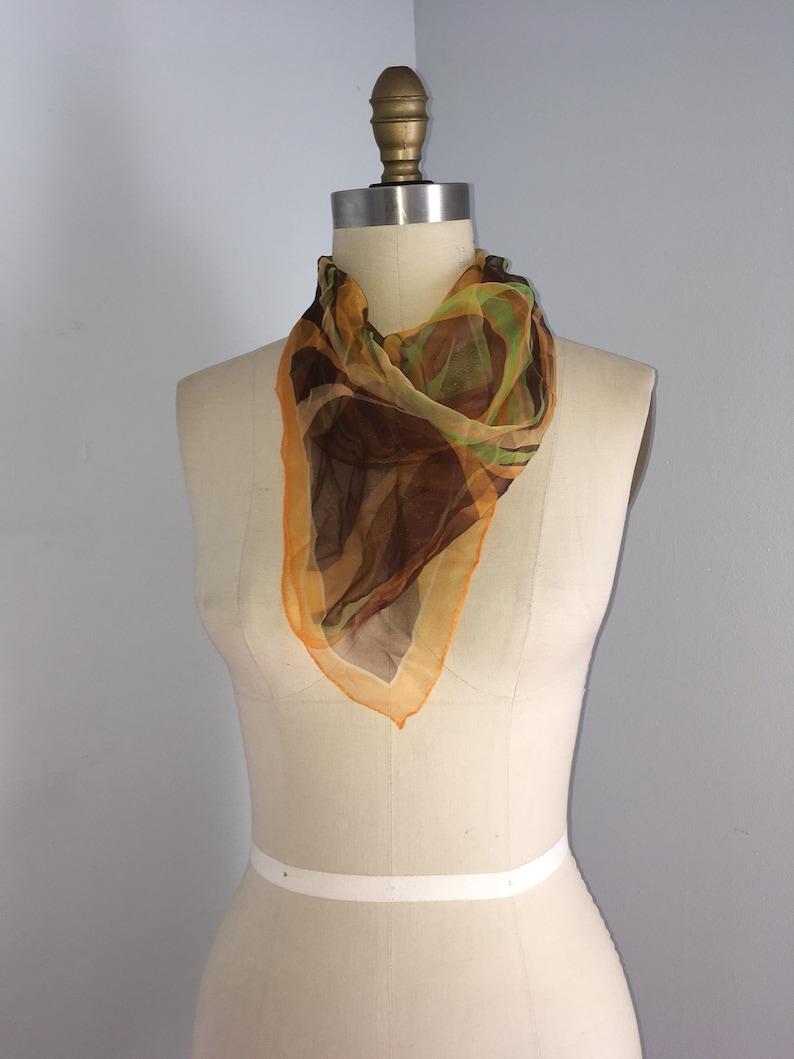 60s 70s sheer Orange Brown Green  Scarf neck Hair Tie