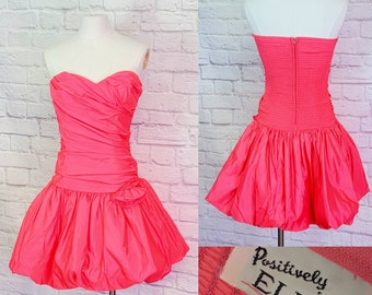 Vintage Dress 1980s Bubble- Pink Prom Formal Party Size S/M