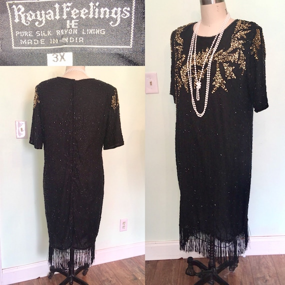 3XL Plus Size 20s Style Dress Black Gold Sequin Fringe Gatsby 80s does  1920s Flapper Party- Silk Sparkly waist 44