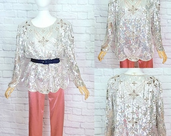 80s 90s Silk Sequin Blouse Top Shirt Abstract Sequin Beaded 1980s Sparkle Glam Size Large