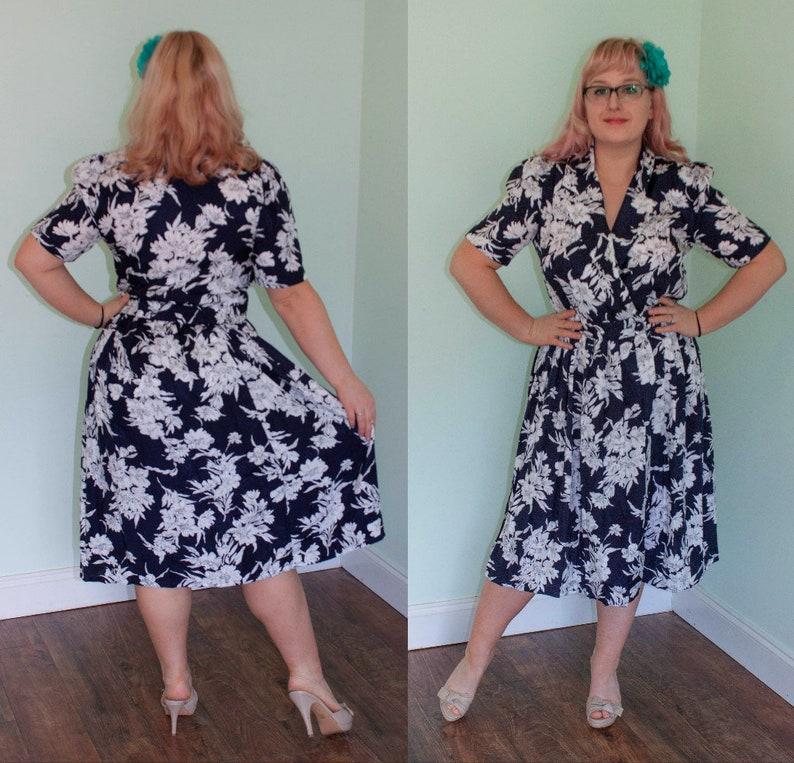 c4b3a675f 80s Secretary Shirtwaist Dress 1980s does 50s Navy Blue White | Etsy