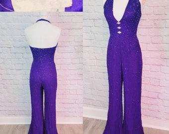90s Grape Purple Beaded Jumpsuit Disco, Studio 54 Deep V Bellbottom pant size small