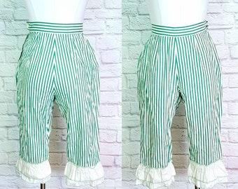 50s Stripe Bloomer Pants Saloon Girl Pinup Teal white ruffle Capri XS