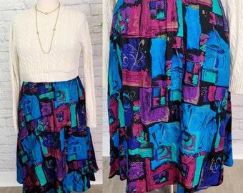 SZ L 1980s Skirt high waist Rayon Elastic Waist Elastic Abstract Print