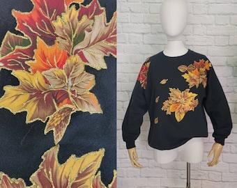 80s 90s Sweatshirt Fall Leaf Gold Glitter Pullover Fall Graphic Appliqué Large Mom Handmade DIY