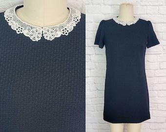 Wednesday Adams Addams  textured waffle Knit Dress Halloween Goth 60s Mod Babydoll White Collar Size Large