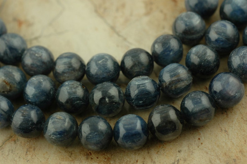 Ocean Designer Jewelry Making Craft Supplies  Nautical Dark Blue Kyanite : Gorgeous AAA-Grade Natural Round  12.5mm 6 Beads Sparkling