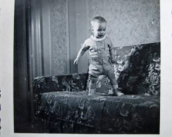 Baby Balance... 1940's Vintage Photo... Original Vintage Snapshot Photograph